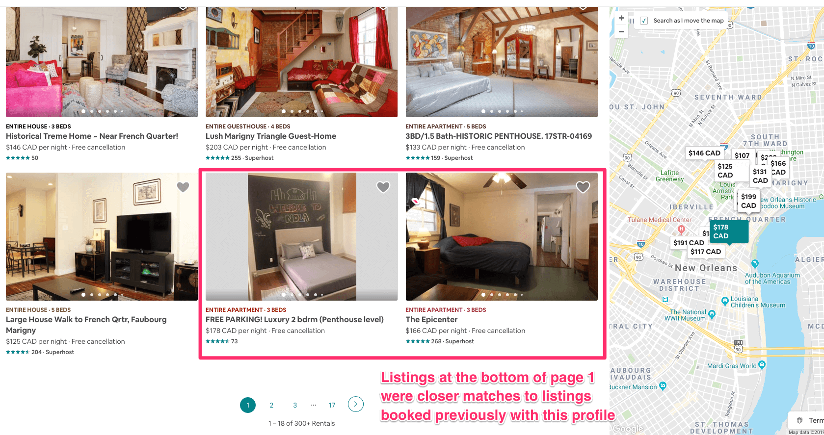 How historical bookings affect Airbnb rankings