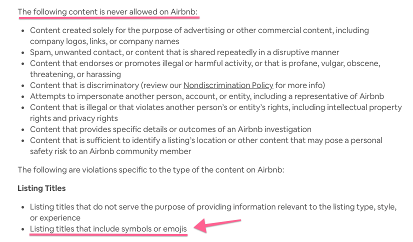 Airbnb's Content Policy on Titles