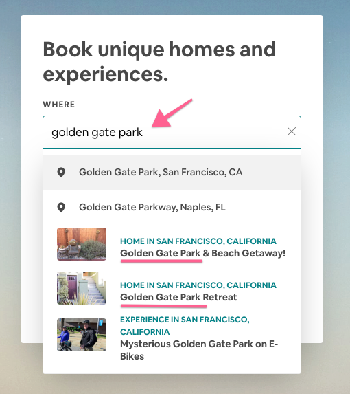 Airbnb TItles: Search suggestion for Golden Gate Park