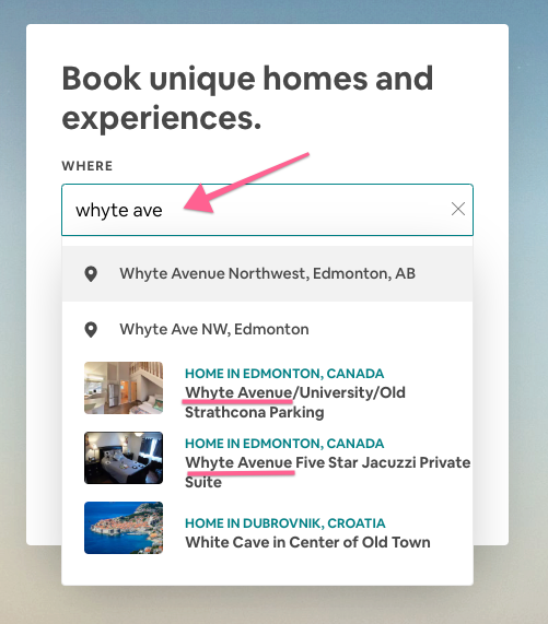 Airbnb Title - search suggestion for Whyte ave